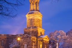 St Chads Church, Quarry Park, in winter snow, evening, Shrewsbury, Shropshire, England, UK, United Kingdom, GB, Great Britain, British Isles, Europe, EU